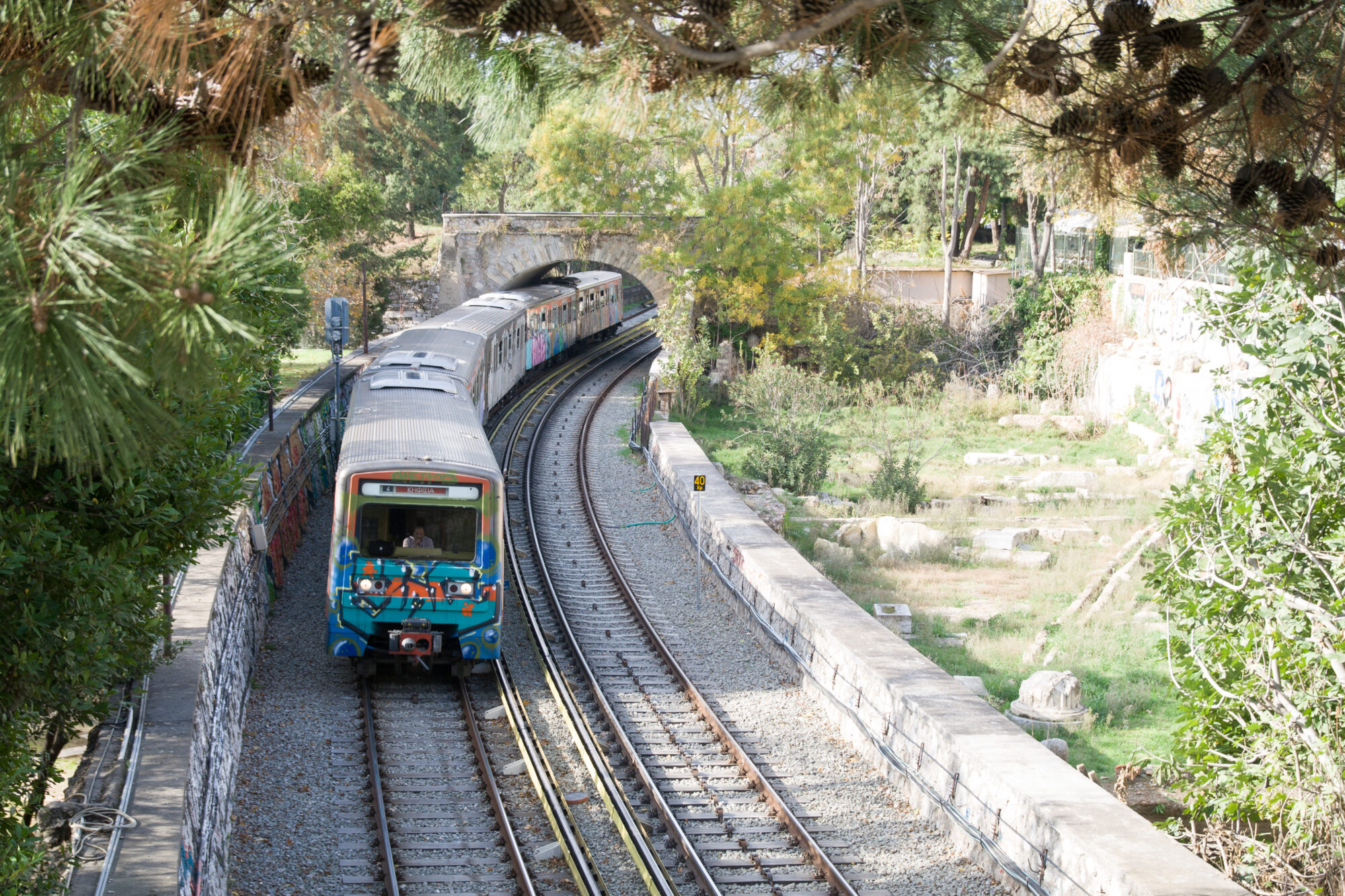 Oncoming train in Athens near the Agora